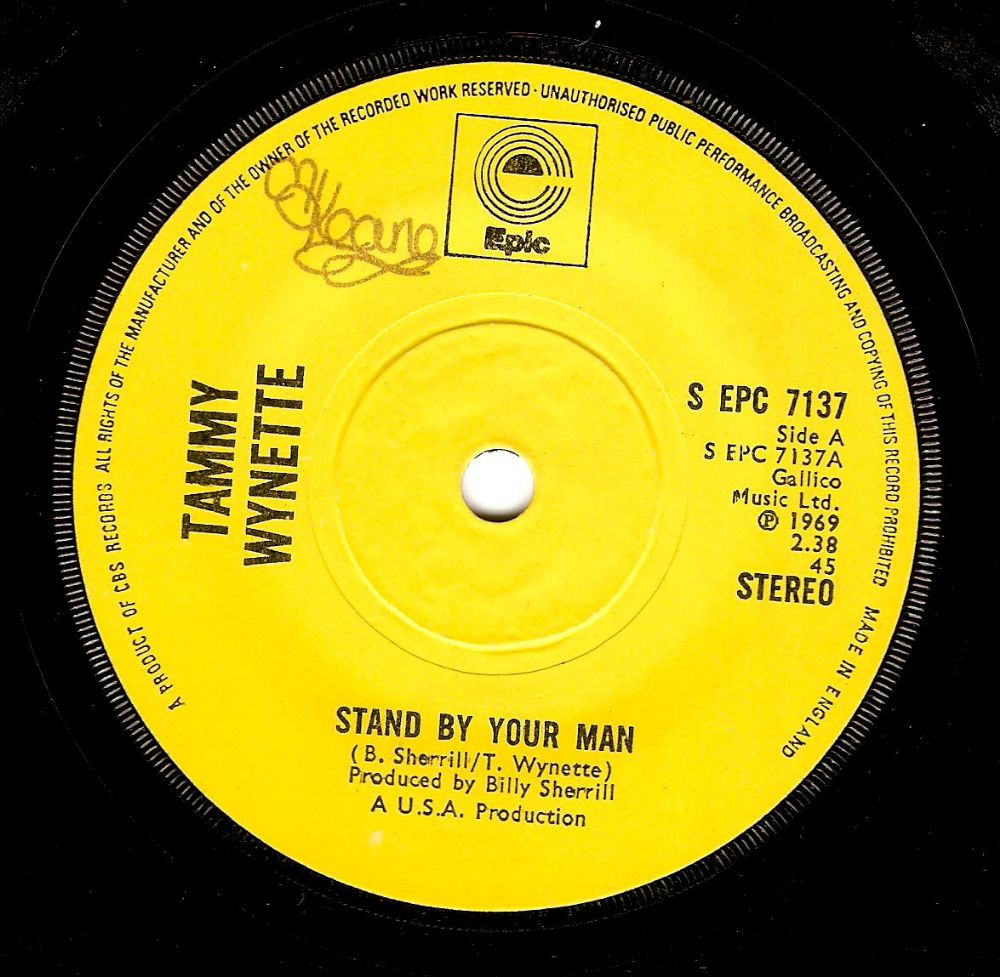 TAMMY WYNETTE Stand By Your Man Vinyl Record 7 Inch Epic 1971